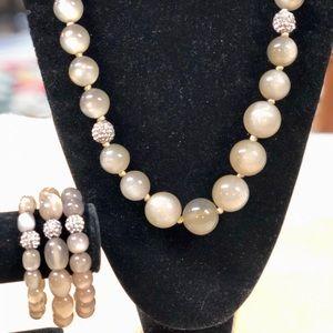 Talbot's Cat's Eye Bead Necklace and Bracelet Set